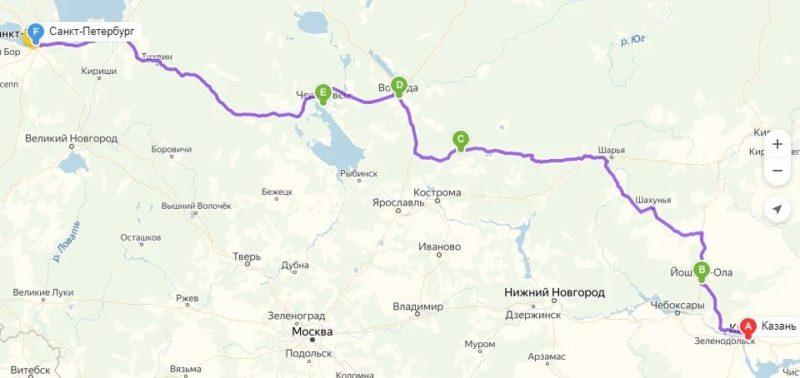 Из Казани в СПб на машине маршрут