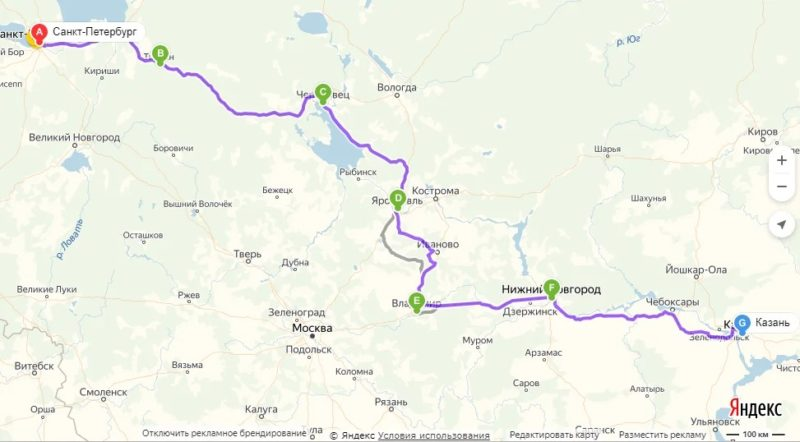 В Казань на машине из Санкт-Петербурга маршрут